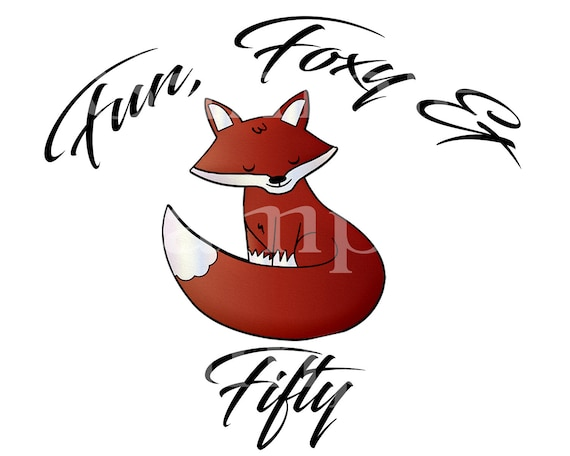 Foxy Fox 50th Birthday - Edible 2D Fondant Cake & Cupcake Topper For Birthdays and Parties! - D24148