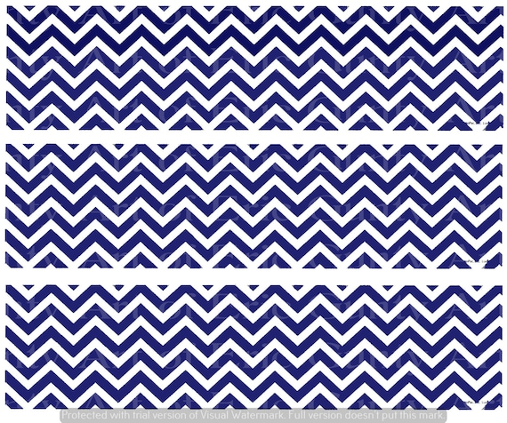 Blue Chevron Birthday - Edible Cake Side Toppers- Decorate The Sides of Your Cake! - D24135