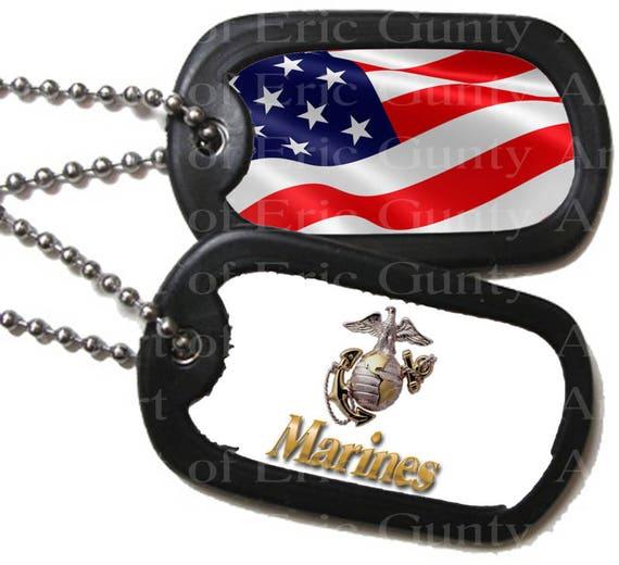 Marines Military Dog Tags Patriotic Birthday ~ Edible 2D Fondant Birthday Cake/Cupcake Topper ~ D22503