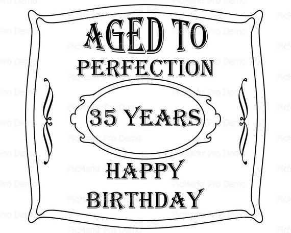 Aged To Perfection 35th Birthday ~ Edible 2D Fondant Birthday Cake/Cupcake Topper ~ D21897