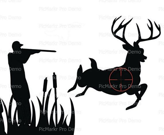 Hunter Hunting Silhouette Birthday ~ Edible 2D Fondant Birthday Cake/Cupcake Topper ~ D20630