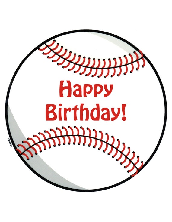 Baseball Happy Birthday ~ Edible 2D Fondant Birthday Cake/Cupcake Topper ~ D24713