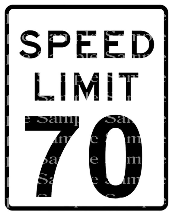 Speed Limit 70th Birthday Sign - 2D Fondant Edible Cake & Cupcake Topper For Birthdays and Parties! - D24334