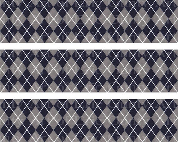 Gray & Navy Argyle - Chevron Birthday Background - Side Strips ~ Edible 2D Fondant Birthday Cake Side Toppers ~ D22407