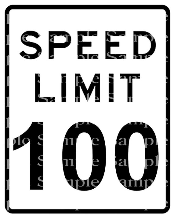 Speed Limit 100th Birthday Sign - 2D Fondant Edible Cake & Cupcake Topper For Birthdays and Parties! - D24338