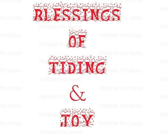 Blessings of Tidings & Joy Christmas ~ Edible 2D Fondant Birthday Cake/Cupcake Topper ~ D21803