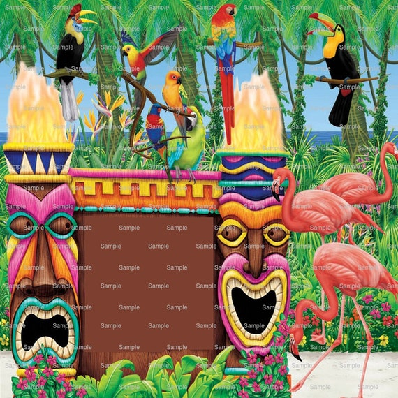 Summer Hawaiian Luau ~ Edible 2D Fondant Birthday Cake/Cupcake Topper ~ D1901