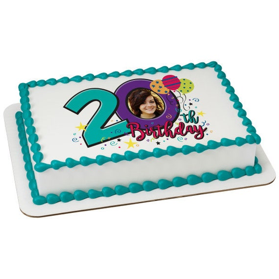 Happy 20th Birthday ~ Edible 2D Fondant Birthday Photo Frame Cake/Cupcake Topper ~ D24111