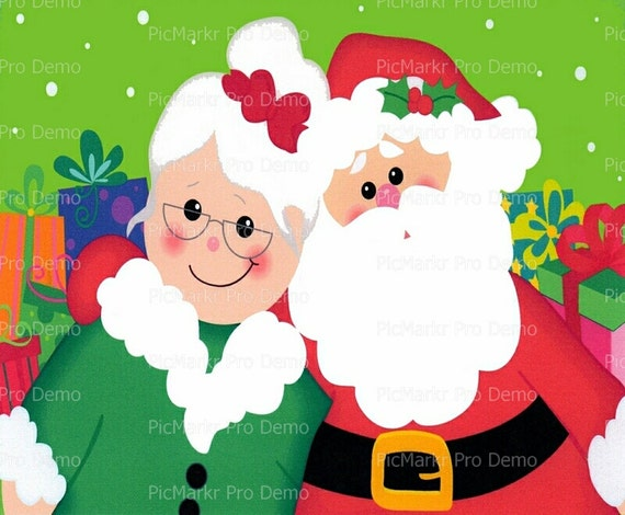 Christmas Santa and Mrs. Claus ~ Edible 2D Fondant Birthday Cake/Cupcake Topper ~ D2805