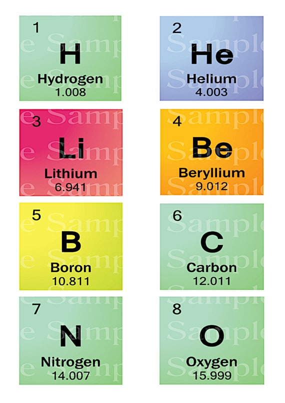 15 Sheets or 118 Periodic Table of Elements Individual 3x2.5 Inches Edible 2D Fondant Cupcake Toppers! - D22840