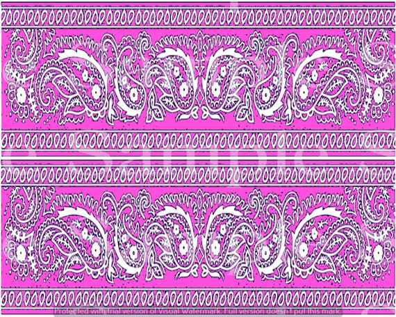 Pink Paisley Birthday - Side Strips ~ Edible 2D Fondant Birthday Cake Side Toppers ~ D24631