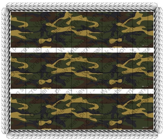 Green Camo - Side Strips ~ Edible 2D Fondant Birthday Cake Side Toppers ~ D313