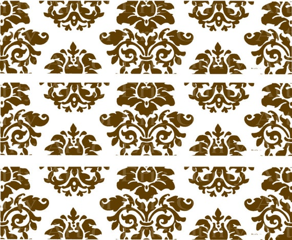 Brown Damask Birthday - Edible Cake Side Toppers- Decorate The Sides of Your Cake! - D22850