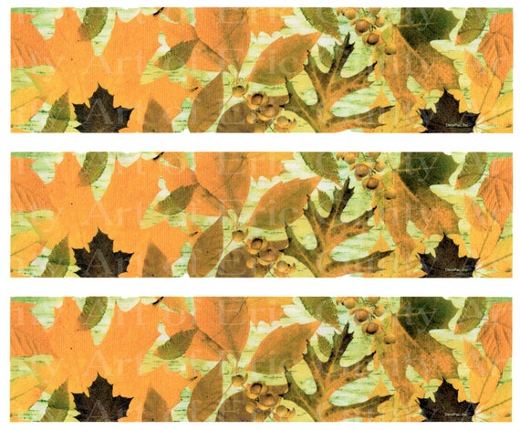 Autumn Leaves - Birthday Background - Designer Strips - Edible Cake Side Toppers- Decorate The Sides of Your Cake! - D22555