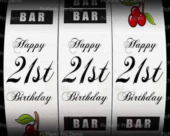 21st Birthday Casino Slot Machine ~ Edible 2D Fondant Birthday Cake/Cupcake Topper ~ D21863