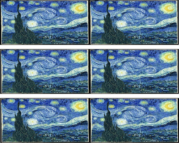 Vincent Van Gogh Starry Night Birthday - Side Strips ~ Edible 2D Fondant Birthday Cake Side Toppers ~ D24656