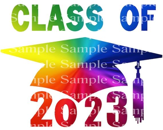 Class of 2023 Rainbow Graduation Cap - 2D Fondant Edible Cake & Cupcake Topper For Birthdays and Parties! - D24285