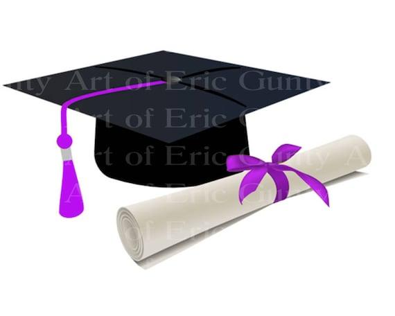 Purple Graduation Cap & Diploma ~ Edible 2D Fondant Birthday Cake/Cupcake Topper ~ D22883