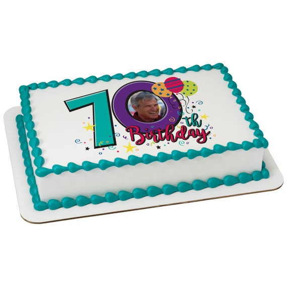 Happy 70th Birthday ~ Edible 2D Fondant Birthday Photo Frame Cake/Cupcake Topper ~ D24116