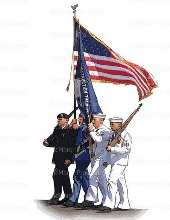 Military Veteran's Day Flag ~ Edible 2D Fondant Birthday Cake/Cupcake Topper ~ D20655