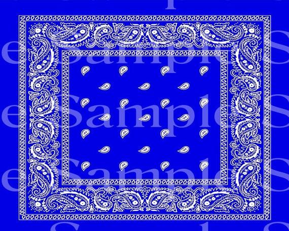 Blue Paisley Bandana Birthday ~ Edible 2D Fondant Birthday Cake/Cupcake Topper ~ D24536