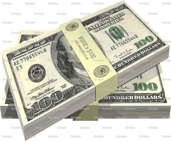 100 Dollar Bill Money Birthday - Edible Cake and Cupcake Topper For Birthday's and Parties! - D6430