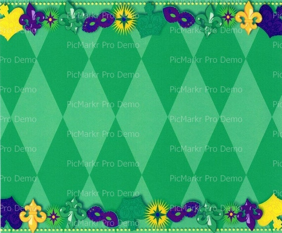 Mardi Gras Masks Background - Edible Cake and Cupcake Topper For Birthday's and Parties! - D3214