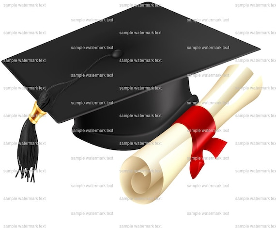 Graduation Cap & Diploma - Edible Cake and Cupcake Topper For Birthday's and Parties! - D5925