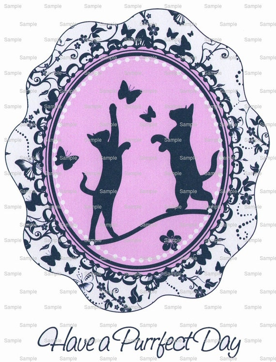 Pink Kittens Playing Birthday  ~ Edible 2D Fondant Birthday Cake/Cupcake Topper ~ D2183