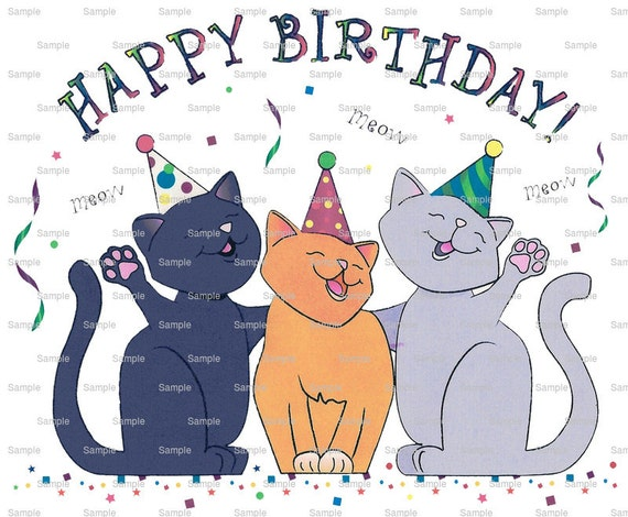 Cat- Happy Birthday ~ Edible 2D Fondant Birthday Cake/Cupcake Topper ~ D880