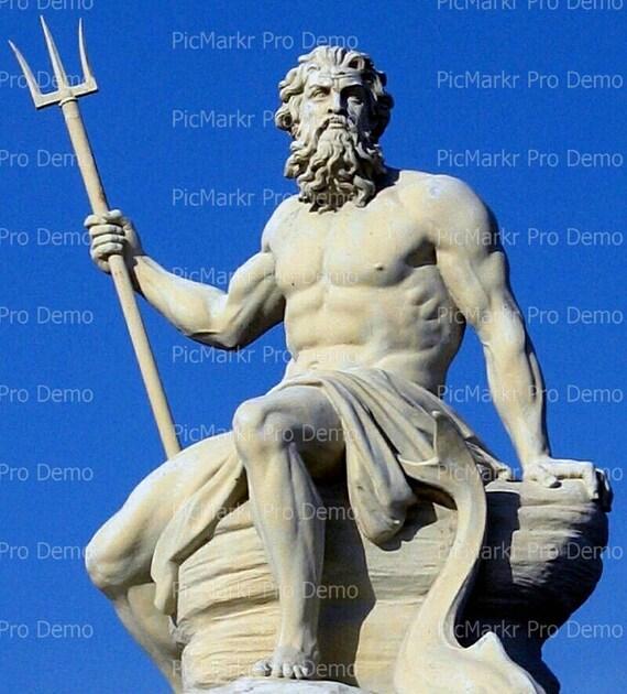 Poseidon Greek Statue ~ Edible 2D Fondant Birthday Cake/Cupcake Topper ~ D6843