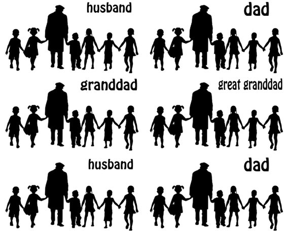 Husband and Dad Silhouette - Side Strips ~ Edible 2D Fondant Birthday Cake Side Toppers ~ D24714