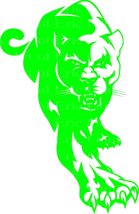 Green Panther Cougar Mascot Birthday - Edible Cake and Cupcake Topper For Birthday's and Parties! - D22458