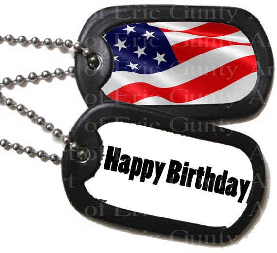 Military Dog Tags Patriotic Birthday - Edible Cake and Cupcake Topper For Birthday's and Parties! - D22502