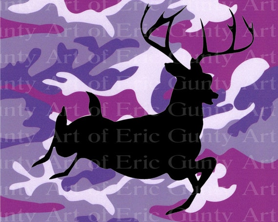 Purple Camo Deer Hunting Birthday - Edible Cake and Cupcake Topper For Birthday's and Parties! - D24044