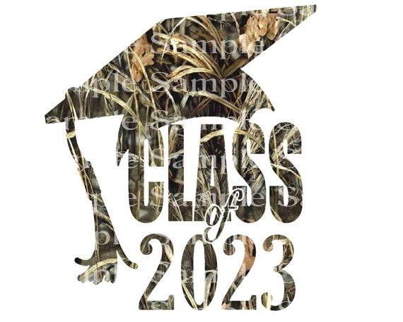 Class of 2023 Hunting Camo Graduation Cap - 2D Fondant Edible Cake & Cupcake Topper For Birthdays and Parties! - D24287