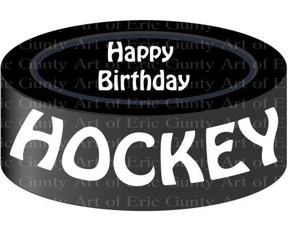 Hockey Puck Happy Birthday ~ Edible 2D Fondant Birthday Cake/Cupcake Topper ~ D21967