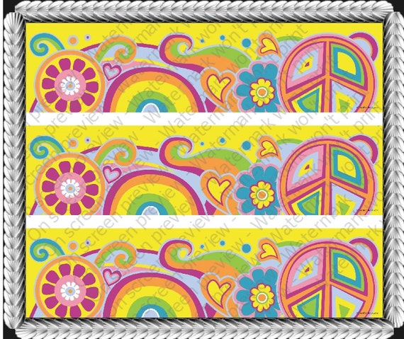 Groovy Peace Hippie - Side Strips - Edible Cake Side Toppers- Decorate The Sides of Your Cake! - D20196