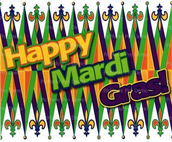 Happy Mardi Gras ~ Edible 2D Fondant Birthday Cake/Cupcake Topper ~ D2269