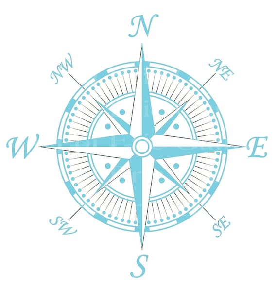 Light Blue Antique Compass Birthday - Edible Cake and Cupcake Topper For Birthday's and Parties! - D22431