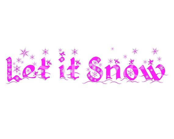 Pink Let It Snow Winter Christmas - 2D Fondant Edible Cake & Cupcake Topper For Birthdays and Parties! - D24542
