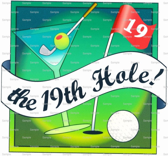 The 19th Hole Golf Birthday - Edible Cake and Cupcake Topper For Birthday's and Parties! - D1325