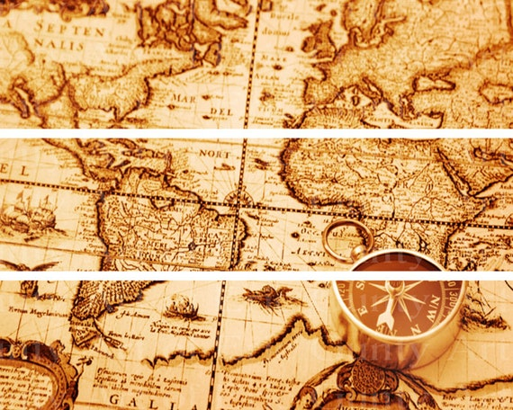 """Old World Map 3"""" Tall - Birthday Background - Side Strips ~ Edible 2D Fondant Birthday Cake Side Toppers ~ D22410"""