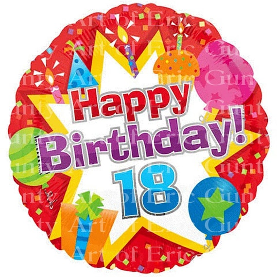 Happy 18th Birthday - Edible Cake and Cupcake Topper For Birthday's and Parties! - D7727