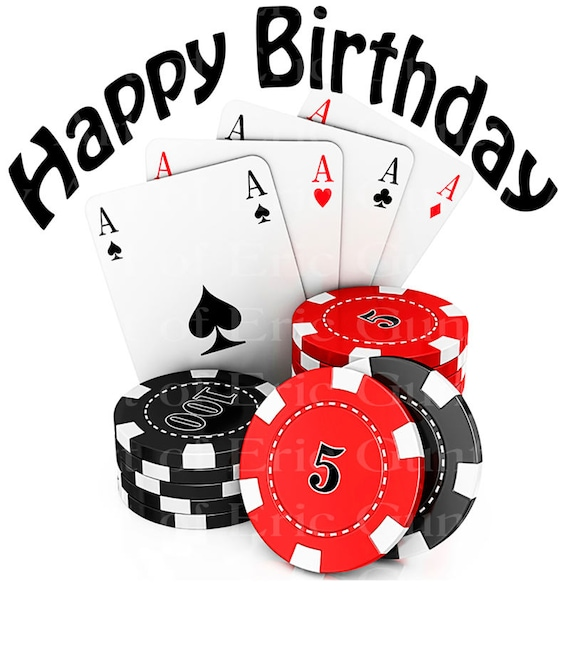 Las Vegas Happy Birthday Cards & Chips Edible Cake And