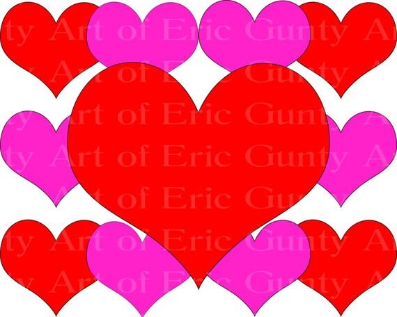 Happy Valentine's Day Hearts ~ Edible 2D Fondant Birthday Cake/Cupcake Topper ~ D22057