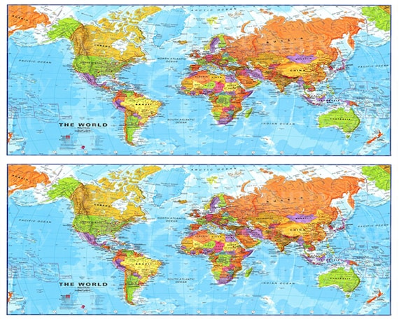 World Map Birthday Side Strips - Edible Cake Side Toppers- Decorate The Sides of Your Cake! - D22339