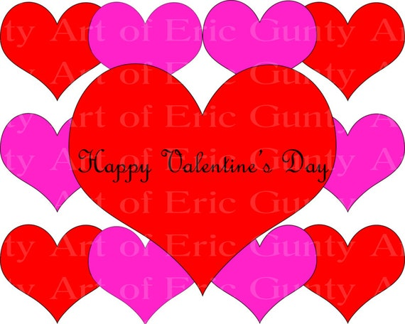 Happy Valentine's Day Hearts - Edible Cake and Cupcake Topper For Birthday's and Parties! - D22056