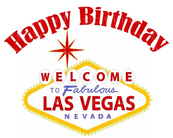 Las Vegas Happy Birthday ~ Edible 2D Fondant Birthday Cake/Cupcake Topper ~ D22762