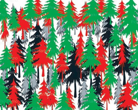 Merry Christmas Trees ~ Edible 2D Fondant Birthday Cake/Cupcake Topper ~ D21791